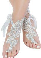 Wholesale Delicate Sandals - Romantic Beach Weddings Shoes Delicate Lace Applqiues Ribbon Open Toe Ankle Flat Bridal Shoe For Summer