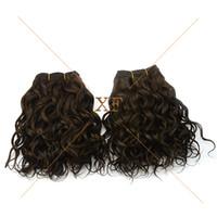 en kaliteli saçlar toptan satış-En kaliteli çift çizilmiş 4 # renk 8 inç 100% işlenmemiş ham perulu bakire insan saçı dokuma