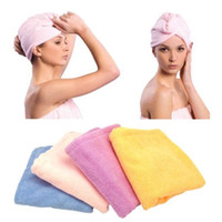 Wholesale Hair Drying Turban Towels - Wholesale Microfiber Magic Hair Dry Drying Turban Wrap Towel Hat Cap Quick Dry Dryer Bath make up towel