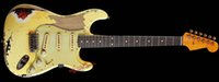 Wholesale Electric Guitars Relic - 10S Custom Shop Masterbuilt John Cruz Rock Monster 1961 Pin-Up Girl Relic Olympic White Over 3 Tone Sunburt Electric Guitar