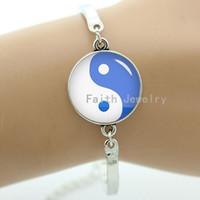 Wholesale Chinese Rhinestone Bracelet - Mysterious tai ji pattern bracelet,blue&white yin yang tai ji picture,Chinese culture element jewelry,fashion handmade gift 1080