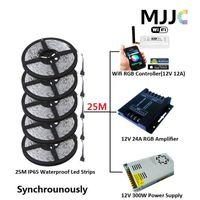 Wholesale Mini Dc 12v - Synchronously 25M SMD 5050 Waterproof IP65 RGB LED Strip Light Kit + 1PC Mini Wifi 12A RGB Controller + 1PC 12V 25A 300W Power Supply