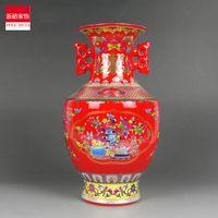 Wholesale Enamel Ceramic Vase - Jingdezhen ceramics enamel vase Jin Zhongping ears red festive Home Furnishing decoration design
