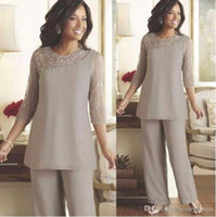 Wholesale Cheap Silver Suits - Silver Mother of the Bride Groom Pants Suits Cheap Plus Size Beaded 3 4 Long Sleeves Chiffon Formal Women Weddings Guest Occasion Dresses