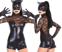 Wholesale Tight Night Wear - Catwoman black imitation patent leather lace cat women's wear + mask tight fitting trousers
