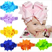 Wholesale Wide Elastic Headbands Wholesale - Baby Girls Super Big 20cm Bows Headbands Kids Children Grosgrain Ribbon Forked Tail Bow Hairbands Elastic Wide Band Hair Accessories KHA345