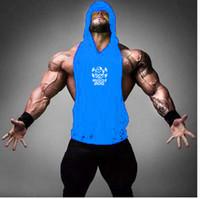 Wholesale Mens Long Running Shirt - Men's Novelty Print Athletic Fitness Gym Hooded Tank Tops For Mens Bodybuilding Running Sports Cotton Sleeveless Vest Undershirt T-shirts