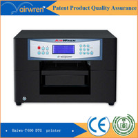 Wholesale T Shirts Printers Machines - 2016 New product hot sale CE approved Haiwn T400 t shirt printing machine with 2 white dtg flatbed printer