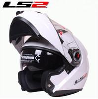 açık kask ls2 toptan satış-ECE LS2 undrape yüz kask Kompozit malzemeler ile Tam Yüz Kask Beyaz renk Motosiklet kask Off Road kask Ls2 FF370 kask