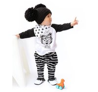 kids tiger clothing NZ - Baby Clothing Sets 2pcs Clothes Spring Autumn Long Sleeve T-shirts Striped Pants Outfits Kids Toddlers Cotton Tiger Tops Trousers Suits