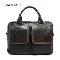 Wholesale White Briefcase Leather - Wholesale- QIAOBAO Top Grade Handmade Mens Real Crazy Horse Leather Briefcase Vintage Style Business Laptop Bag Case
