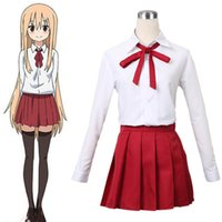 Wholesale Cosplay School Uniform Skirt - Wholesale-2Styles Himouto! Umaru-chan Umaru Doma   Nanan Ebina School Uniform Cosplay Costume Full Set Dress ( Shirt+Skirt+Bow tie+Socks)