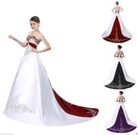Wholesale Vintage Wedding Gown 18 - Satin Embroidery Wedding Dress Bridal Gown Custom Size 6 8 10 12 14 16 18 20