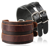 Wholesale Leather Gold Plate Belts Wholesale - Wholesale-2016 New Fashion Europe Bracelet Hot Sale Genuine Cow Leather Double Buckle Men Bracelets Wristband Belt Punk Rock Cuff Bangle