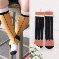 Wholesale Cute Animal Baby Booties - New Arrival Cute Korea Socks Cartoon Socks Baby Booties Kids Pencial Striped Socks Korean Boys girls stocking Yellow Black A5249