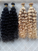 "Wholesale Pre Bond Curly Hair Extension - New Style Hair Products V-tip Probonded Hair Extensions 14""-28"" 100g Deep Curly Brazilian Peruvian Indian Human V-tip Hair Extesnions"