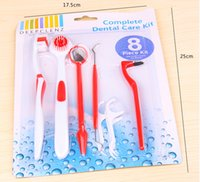 Wholesale Dental Care Toothbrush - 100sets 8 in 1 Dental Care Kit Oral Hygiene Teeth Whitening Tool,Toothbrush Tongue Brush Dental Pick Mirror Stain Eraser 3 Dental Floss
