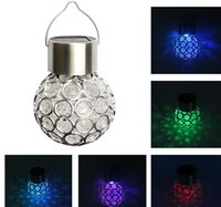 Wholesale Yard Glasses - Solar Powered lighting Color outdoor led light ball Crackle Glass LED Light Hang Garden Lawn Lamp Yard Decorate Lamp holiday MYY