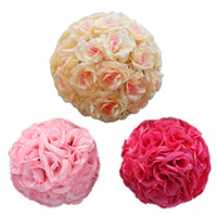 Wholesale Silk Kissing Pomander - 18cm Artificial Silk Rose Pomander Flower Balls Wedding Party Bouquet Home Decoration Ornament Kissing Ball New