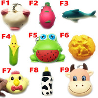 Wholesale Frog Wholesale - Squishy Toy frog cake Animal chicken dolphin corn squishies Slow Rising 10cm 11cm 12cm 15cm Soft Squeeze Cute gift Stress children toys F10