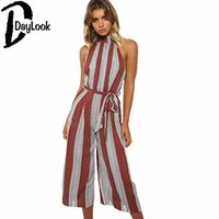 Оптовое - DayLook 2017 Casual Slim Fitted Women Jumpsuit Sleeve Halter Striped Loose Playsuit с поясом Sexy Back Palazzo Plus Размер S-XL
