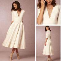 vestido de novia corto bhldn al por mayor-BHLDN Vestidos de novia baratos hasta los 100 años con cuello en V Profundo A Line Vestido de novia de manga larga blanco Vestidos cortos de Novia
