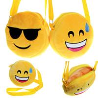 Wholesale Kawaii Fabric - 12 Designs baby Emoji Bags Kids Cross Body Shoulder Bags 3D Expression Kawaii Plush purse bag