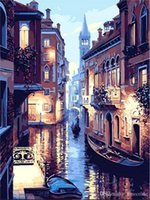 Barato Paisagem De Lona Diy-Frameless Veneza Night Landscape DIY Pintura a óleo digital por números Europa Abstract Canvas Painting For Living Room Wall Art