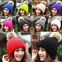 Wholesale Classic Headgear - Winter Fashion Beanie Classic Tight Knitted Fur Pom Poms Hat Women Cap Winter Beanie Headgear Headdress Head Warmer Top Quality 10pcs