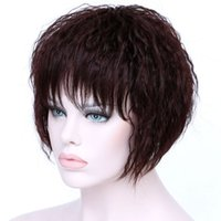 Wholesale Hairpieces For Black Women - Short Brown Kinky Curly Hair Wigs Women Heat Resistant Synthetic Hairpieces African American Wigs For Black Women Hair