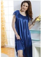 Wholesale Night Gowns Sleep - Wholesale-Night shirt Sexy Brace Female Imtated Silk Lace Night Pajama Female Nighty Gown Robes sexy sleeping dress