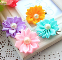 Wholesale Dog Flower Clips - 50pcs lot pet dog hair bows Clip petal flowers hairpin with pearls pet dog grooming bows dog hair accessories product