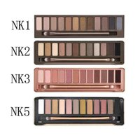 maquillaje de ojos brillo neutro al por mayor-Eyeshadow Palette Maquillaje Mate Shimmer NK 1.2.3.4.5 Maquillaje 12 colores Nude Palette Natural Bronze Smoky Cosmetic Eye chocolate