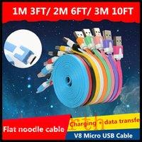 cables de fideos 2m al por mayor-V8 Micro USB Noodle Cable de cargador de datos de sincronización plana USB para Samsung Galaxy LG Sony 1M 3 pies 2M 6 pies 3M 10 pies