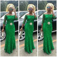 Wholesale Emerald Green One Shoulder Dress - Lace Arabic Emerald Green Prom Dresses Long Sleeves 2016 African Fashion Off Shoulder Mermaid Beaded Nigerian Styles Bellanaija Evening Gown
