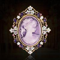 königin kommt großhandel-Vintage Beauty Queen Cameo Brosche Pins für Frauen Elegante Schal Schnalle Lila Kristall Blume Strass Broschen Weihnachtsgeschenk Schal Schmuck