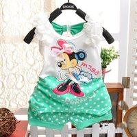 Wholesale Girls Lace Flower Clothing Set - Girl Clothing Sets Girls Minnie Vest + Shorts 2 Pics Suits With Lace Flower Summer Polka Dots Children Clothing Sets 3 Colors