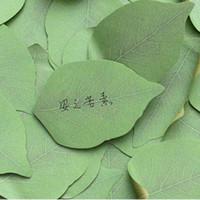 ücretsiz not etiketi toptan satış-10 takım Sevimli Yeşil Yaprak Memo Pad Yapışkan Post Not Kağıt Sticker Pedleri Ücretsiz kargo Ofis Okul Malzemeleri Malzeme Escolar Papelaria