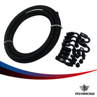 Wholesale Racing Plugs - PQY RACING-6 AN Pro's Lite Black Nylon Fuel Line Hose 350 PSI 5M+ Hose End Adaptor KIT +NPT PLUG PQY7312+SL10NPTBK