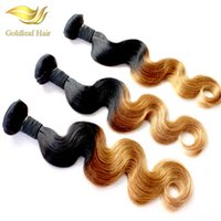 Wholesale Virgin Remy Hair 1b - Wholesale Two Tone Ombre Hair Body Wave Human Hair Weaving T 1B 27 Ombre Hair Extensions
