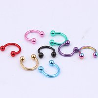 Wholesale New Nose Piercing Jewelry - Wholesale-OP-Hot new arrive 1.2*8*3mm horseshoe body piercing 100pcs surgical Stainless Steel Electrophoresis colors nose ring