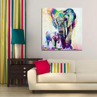 pinturas a óleo sem moldura venda por atacado-Pinturas Watercolor Elephant Inkjet Frameless Arte em tela a óleo colorida arte moderna Pintura abstrata pintada Wall Decor