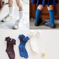 Wholesale White Socks Ruffles - Fashion new korean children socks baby girls lace ruffle stretch socks kids cotton half socks leg children Stockings white blue gray A8350