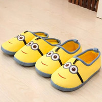 Wholesale Despicable Minions Plush Slippers - Cartoon Cute House Slippers Women Mujer Shoes Men Indoor Outdoor Despicable Me Minions Winter Plush Adults Cotton Pantuflas Hot