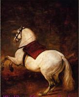 sanat atları yağlı boya toptan satış-Hakiki Yüksek Kaliteli Handpainted Klasik Sanat yağlıboya Kalın Tuval Üzerine Müze Kalitesi, Çok Boyutlu Beyaz At seçilen