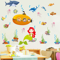 Wholesale Mermaids World - 60*90cm Wall Stickers DIY Art Decal Removeable Wallpaper Mural Sticker for Living Room Bedroom Xl8105 Seabes World Mermaid