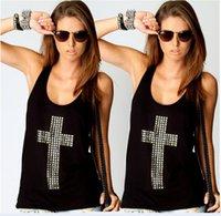 Wholesale Ladies Rhinestone Tank Tops - Ladies fashion street van cross drilling collar shirt T-shirt backless vest