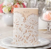 Wholesale laser cut wedding invitations cheap - White flower cheap elegant luxury laser cut wedding invitations cards hollow personalized Engagement invitation cards with envelope