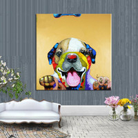 Wholesale dogs canvas oil paintings resale online - Hand Painted Modern Abstract Huge Large Canvas Art Oil Painting Lovely Smiling Dog Paintings No Framed