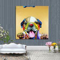 grandes pinturas a óleo emolduradas venda por atacado-Pintados À mão Abstrata Moderna Enorme Grande Arte Da Lona Pintura A Óleo Adorável Sorrindo Pinturas de Cão Sem Moldura